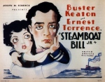 Keaton carries Marion Byron, as drawn by a caricaturist, on the movie poster.
