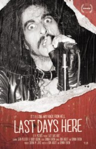 Pentagram vocalist Bobby Liebling in a performance shot on the film's poster.