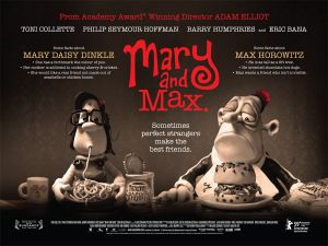 Mary and Max eat dinner in this still from the film.