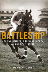 Battleship galloping (presumably during a workout) at Ascot on the cover of the book.
