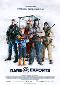 The cast of the film, with Santa Claus caged behind, graces the poster for the film.