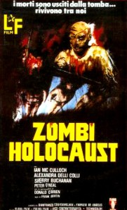 Very stylized zombies loom over the title of the film on this poster.