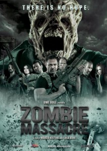 In the movie poster, the main villain (a zombie, of course) looms large over the principal cast.