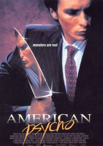 Christian Bale's face reflected in a butcher's knife adorns the movie poster.