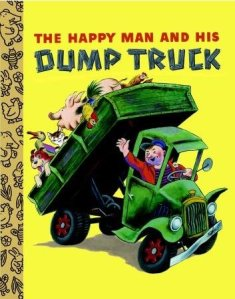 The titular happy man and a dump truck full of farm animals adorn the book's cover.