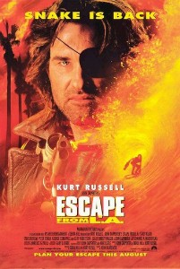 Kurt Russell superimposed over Los Angeles in flames comprises the movie poster.