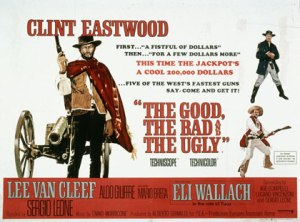 The movie poster features an artist's rendition of Clint Eastwood and a summary of the film.