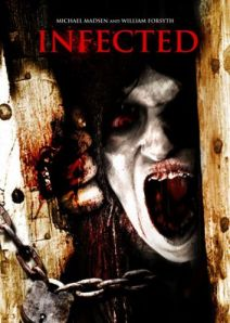 A zombie tries to break through a chained door in the poster for the film.