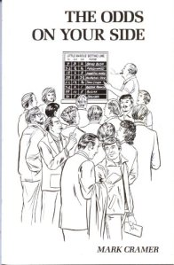 A number of bettors watch a bookmarker in the drawing on the book's cover.