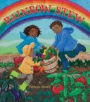 The book's three young protagonists gathering vegetables on the book's cover.