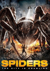 A massive spider confronts some minuscule humans on the movie poster.