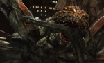 One of the movie's overgrown arachnids chows down on a girder in this still from the film.