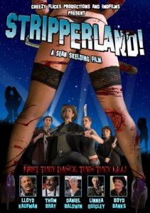 This take-off of the poster for Zombieland has the principal cast seen through the spread legs of a zombie stripper.
