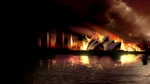 The Sydney Opera House in flames in a still from the film.