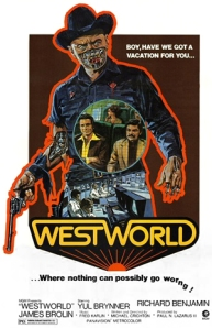 A robotic Yul Brynner towers over everyone else on the movie's poster.
