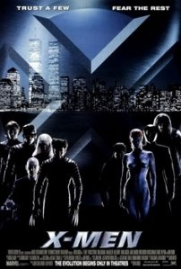 The principal cast superimposed over the skyline of a metropolis on the original film poster.