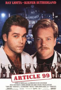 Ray Liotta and Kiefer Sutherland loom over an artist's rendition of the standoff in the ER on the movie poster.