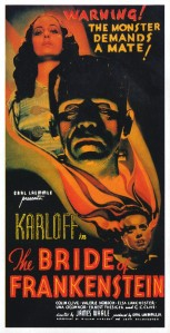 Karloff dominates the poster, with Elsa Lanchester smaller and in the foreground, on the movie poster.
