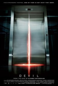 The reflection of light from inside an elevator on a chrime floor resembles an inverted cross on the movie poster.