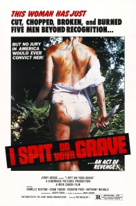 Camille Keaton walks away on the movie poster. She's not wearing much.