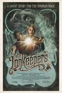 An artist's rendition of Sara Paxton and Pat Healy investigating a mist-filled hallway decorates an alternate movie poster.