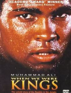 A close-up of Muhammad Ali's sweaty face adorns the movie poster.