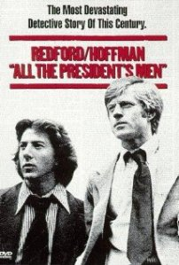 Hoffman and Redford look at something off the left edge of the movie poster.
