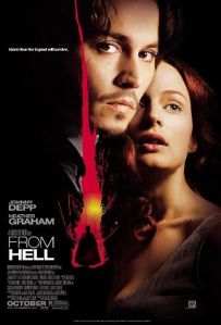 Johnny Depp and Heather Graham dominate the poster, but a silhouette of Jack the Ripper is always in the background.
