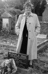 Philomena Lee stands over her son's gravestone.