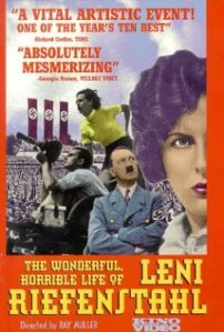A montage with Riefenstahl in the foreground, Hitler in the background, and the masses behind them adorns the VHS cover.