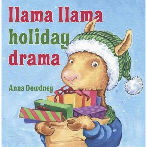 The titular llama with an armful of Christmas presents adorns the book cover.