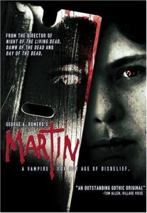 John Amplas in the background, a bloody razor blade in the foreground, on the movie poster.
