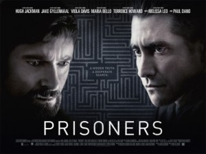 Jackman and Gyllenhaal dominate a movie poster with a maze as its background.