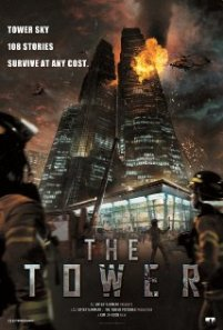 The tower of the title, in flames, decorates the movie poster.