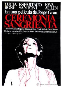 A line drawing of Elizabeth Bathory, blood dripping down her body, decorates the movie poster.