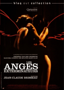 The film's two female leads locked in an embrace, neon wings painted around them, adorn the movie poster.