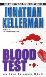 Splatters of blood frame a fingerprint on the book's cover.