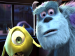 Mike and Sully look horrified in a still from the film.