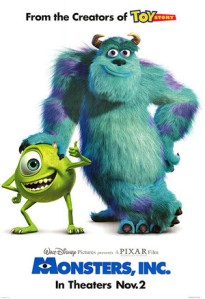 Mike and Sully decorate the movie poster.
