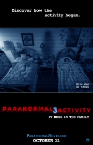 A shot of a bedroom through a video recorder adorns the movie poster.