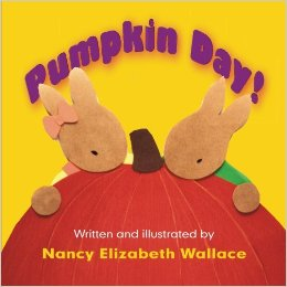Two papercraft bunnies hug a pumpkin on the book's cover.