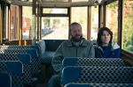 Our two protagonists taking a trolley tour in a still from the film.
