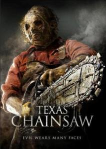 Leatherface brandishes his trademark chainsaw on the movie poster.