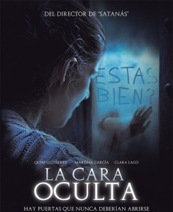A woman stares at a mirror, behind which a hand is writing, on the movie's poster.