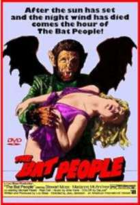 A bat person holds a lovely blonde on the movie poster.