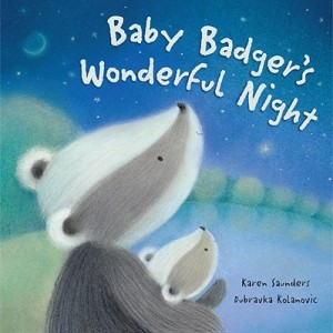 Baby badger and his daddy look up at the sky on the book's cover.