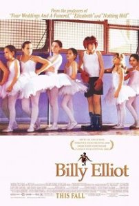 Billy stands awkwardly amidst a row of ballerinas on the movie poster.