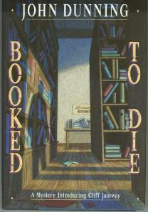 The shadow of a man originates from behind the shelves of a used bookstore on the cover.