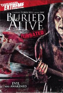 The movie's monster brandishes an axe on the DVD cover.