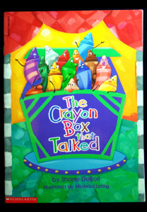 The crayons in the box argue amonst themselves on the book's cover.